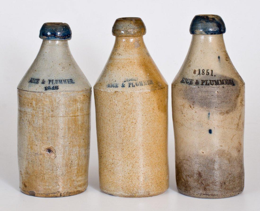 Lot of Three: Dated Stoneware Bottles Impressed RICE &