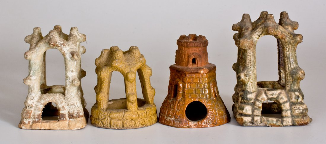 Lot of Four: Pottery Aquarium Castles, late 19th