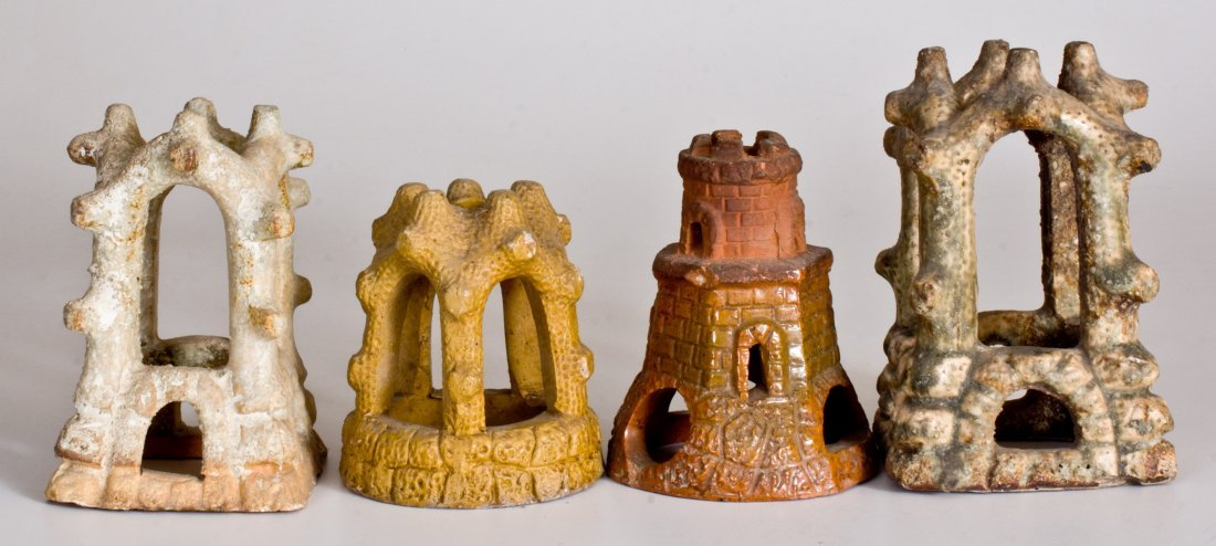 Lot of Four: Pottery Aquarium Castles, late 19th - 2