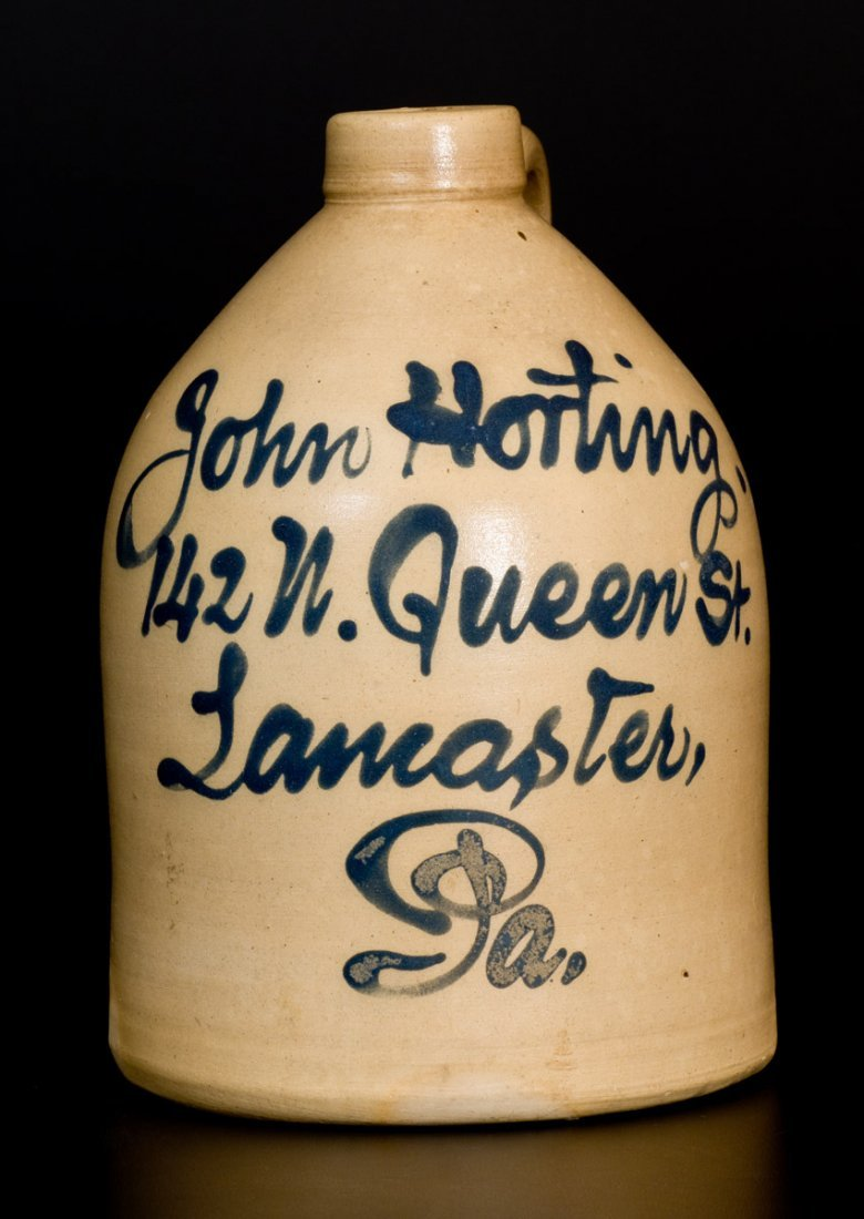 Scarce Half-Gallon Lancaster, PA Stoneware Advertising