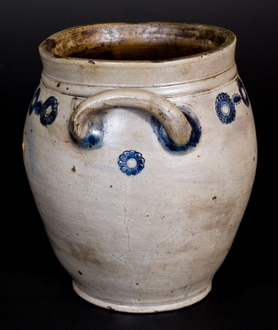 Unusual attrib. Crolius, Manhattan Stoneware Jar w/ - 4