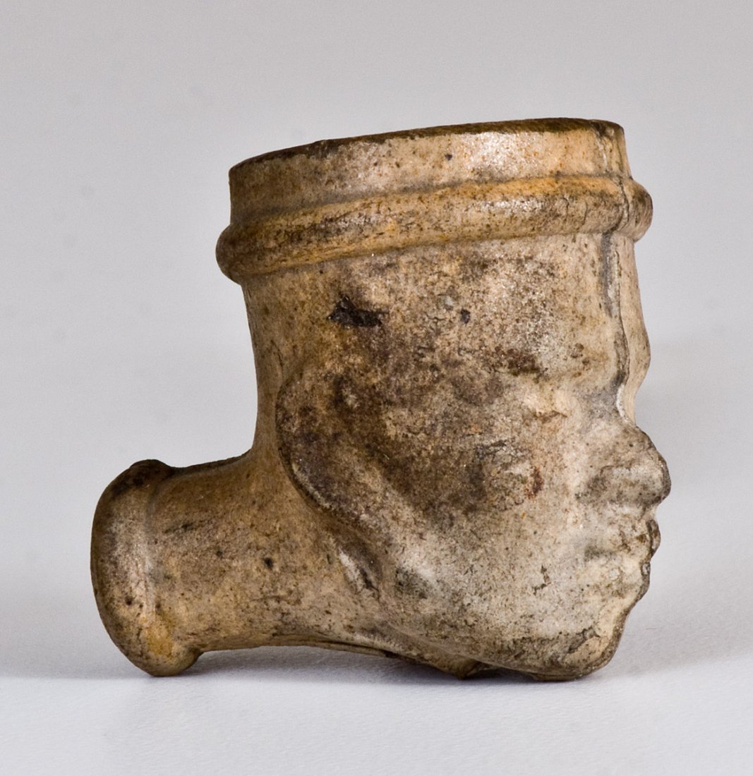 Unusual Stoneware Figural Face Pipe Bowl w/ African