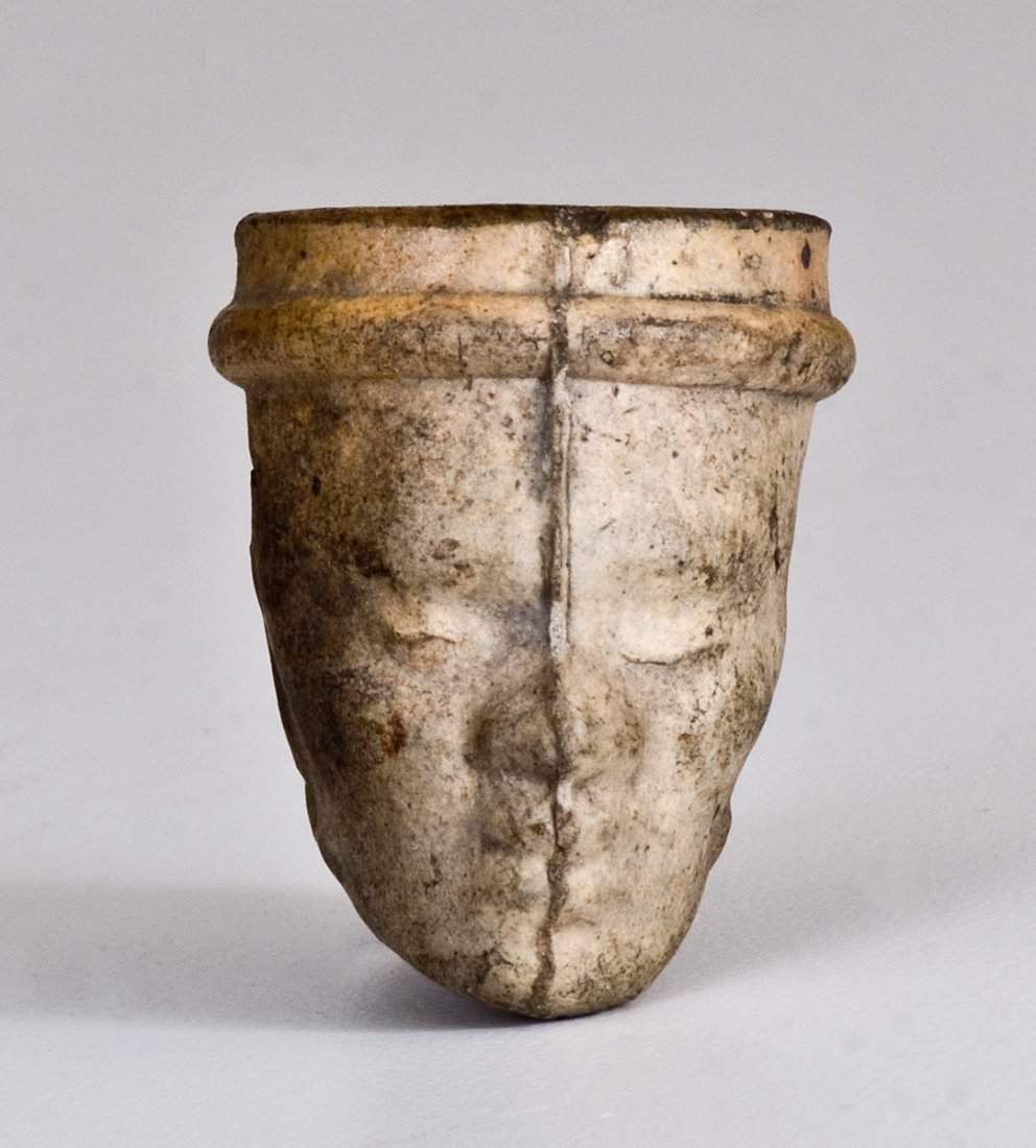 Unusual Stoneware Figural Face Pipe Bowl w/ African - 2