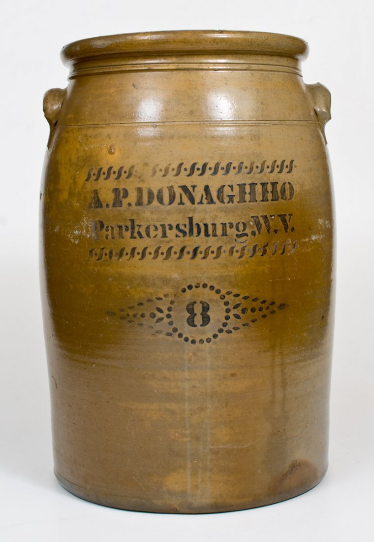 8 Gal. A. P. DONAGHHO / Parkersburg, W.V. Stoneware Jar