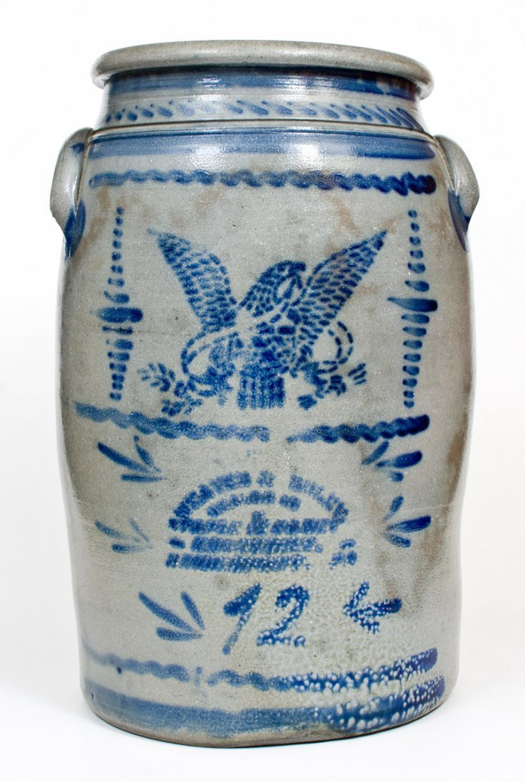 Fine 12 Gal. Stoneware Jar with Stenciled Eagle and