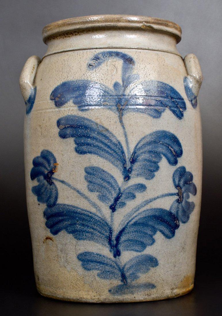 5 Gal. J. WEAVER, Beaver, PA, Stoneware Jar w/ Floral