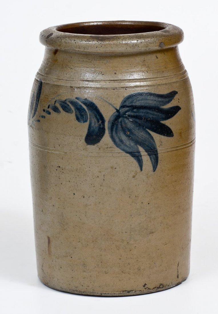 One-Gallon Western PA Stoneware Jar w/ Cobalt Floral