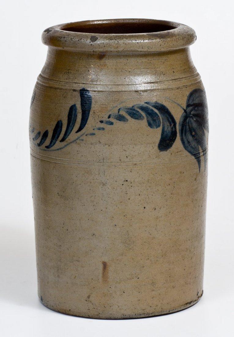 One-Gallon Western PA Stoneware Jar w/ Cobalt Floral - 2
