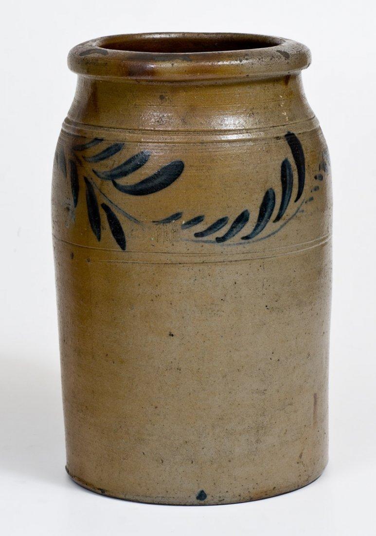 One-Gallon Western PA Stoneware Jar w/ Cobalt Floral - 3