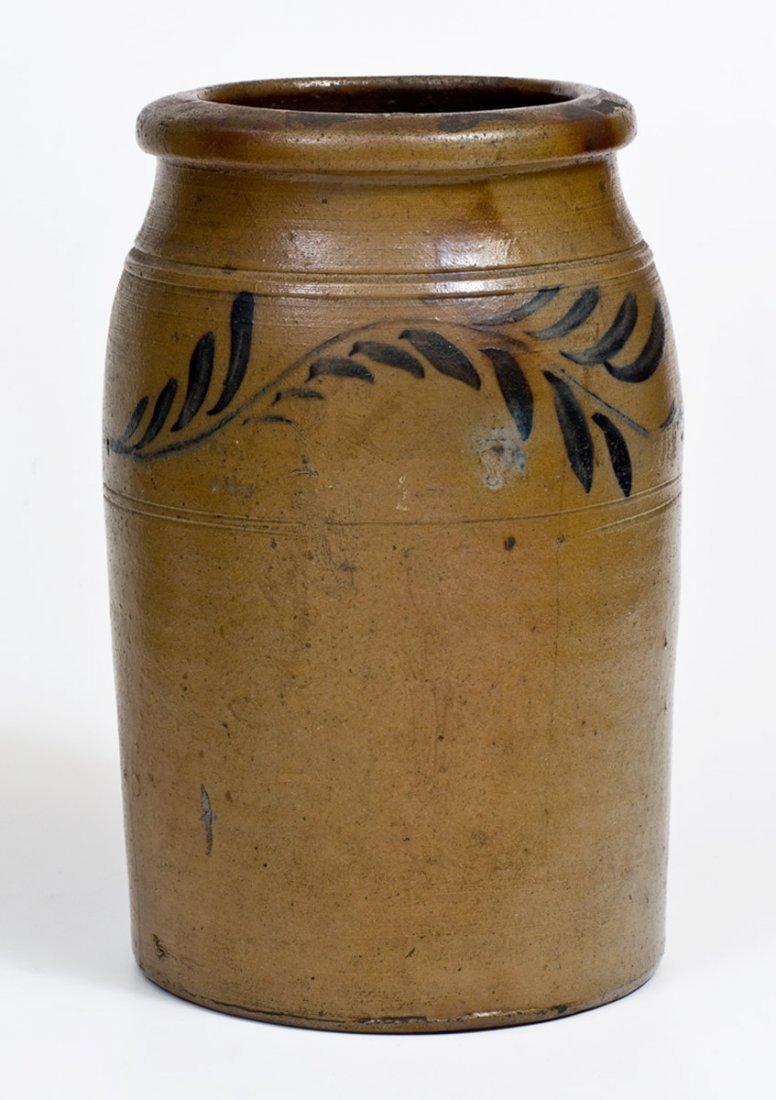 One-Gallon Western PA Stoneware Jar w/ Cobalt Floral - 4