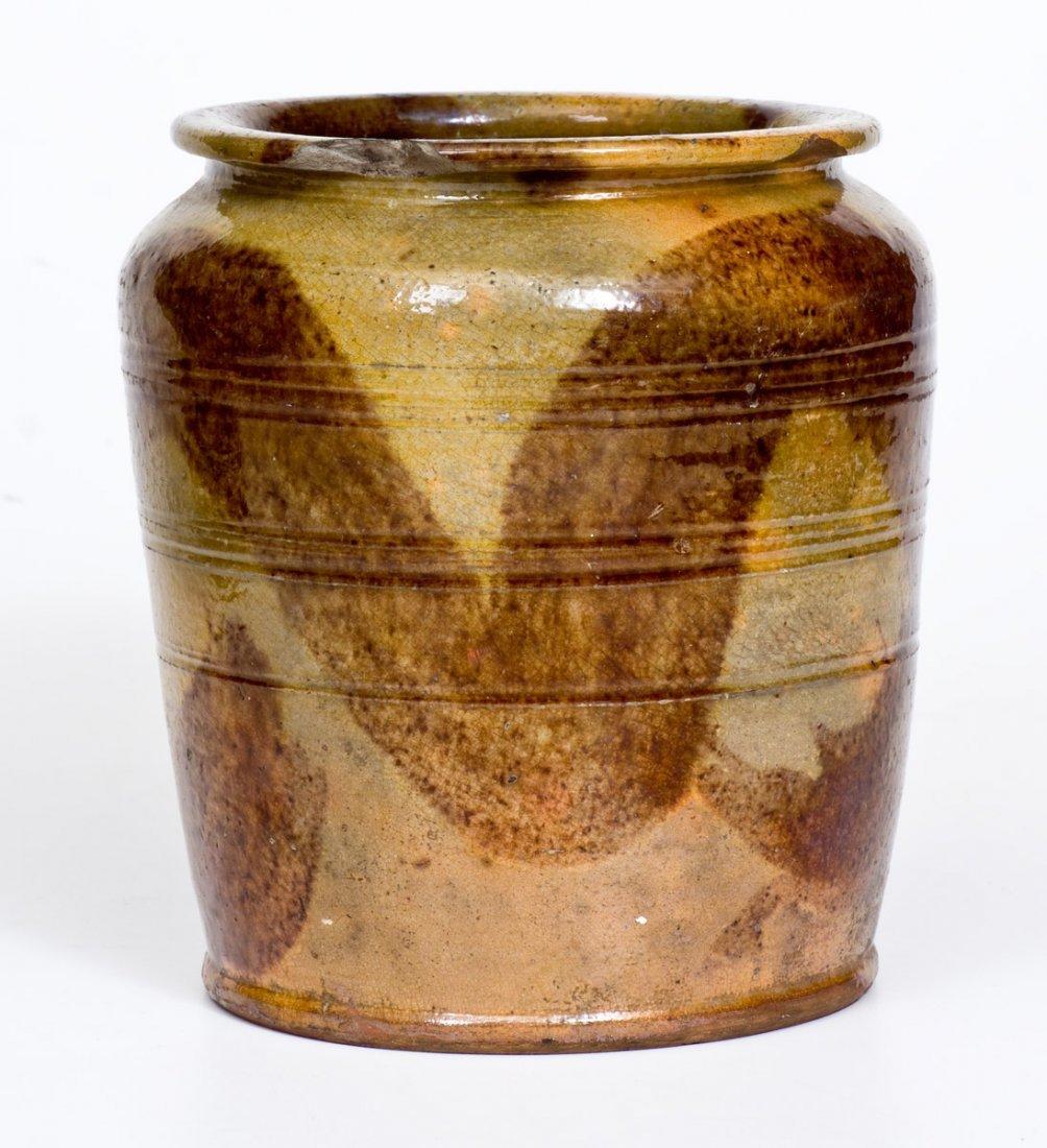 Redware Jar with Brushed Manganese Decoration