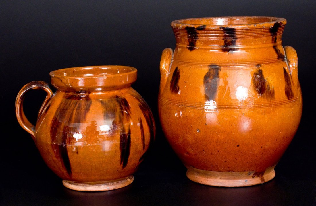 Two Glazed Redware Jars, Northeastern U.S. origin,
