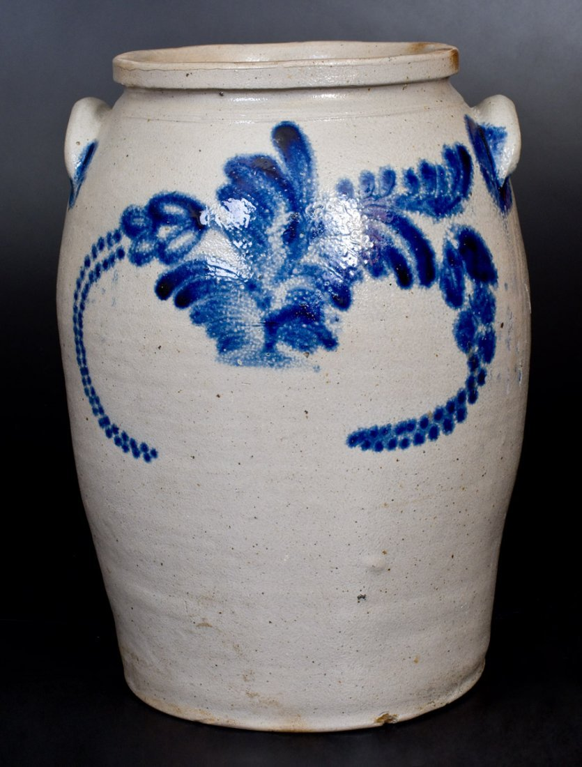 3 Gal. Stoneware Jar with Bold Cobalt Floral - 3