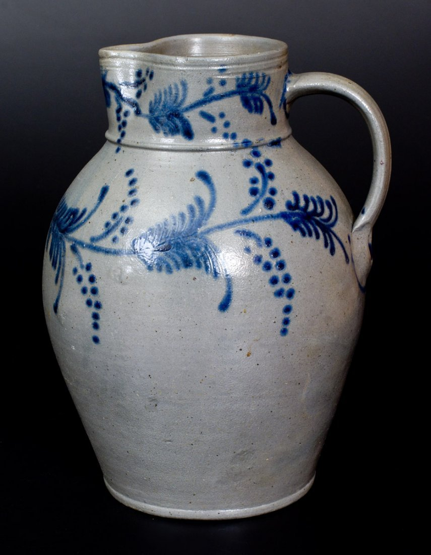 Fine 2 Gal. Stoneware Pitcher with Slip-Trailed