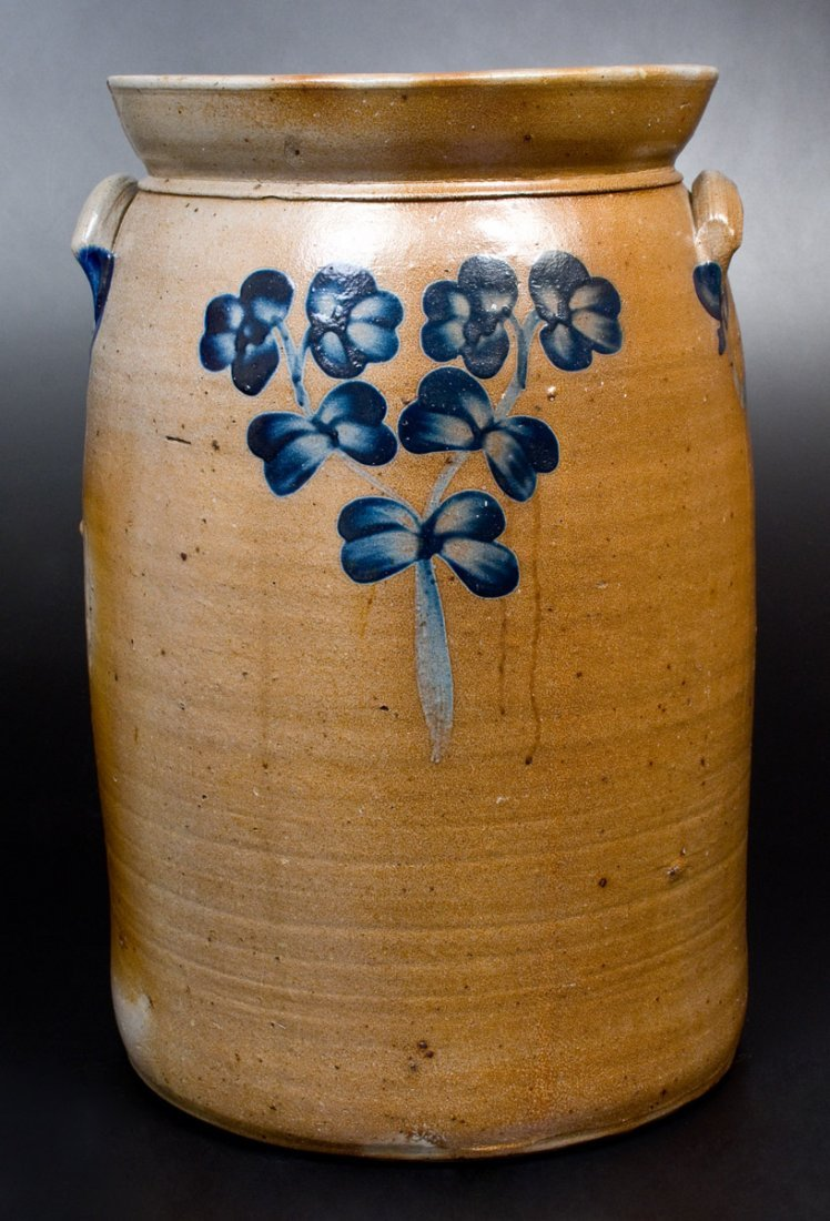 6 Gal. Stoneware Churn with Floral Decoration,