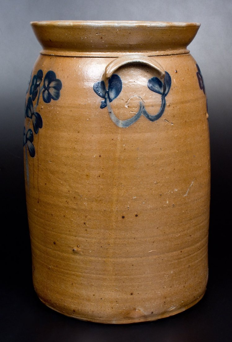 6 Gal. Stoneware Churn with Floral Decoration, - 2