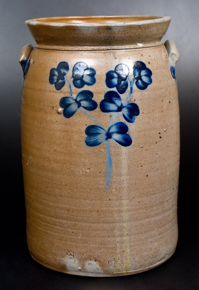6 Gal. Stoneware Churn with Floral Decoration, - 3