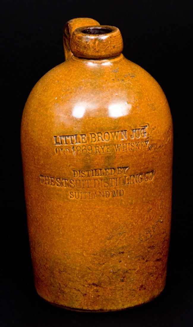 """SUITLAND, MD """"LITTLE BROWN JUG"""" Stoneware Advertising"""