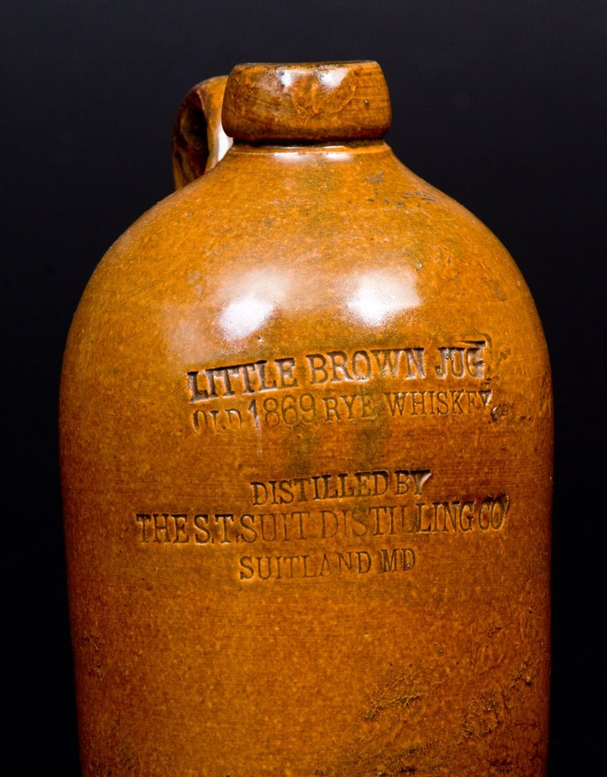 """SUITLAND, MD """"LITTLE BROWN JUG"""" Stoneware Advertising - 4"""