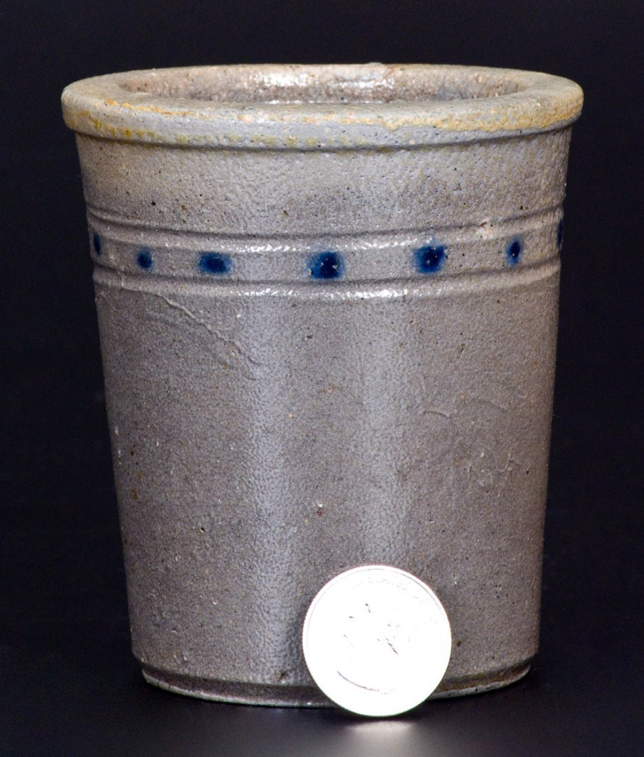 Extremely Rare Cobalt-Decorated Stoneware Tumbler, att.