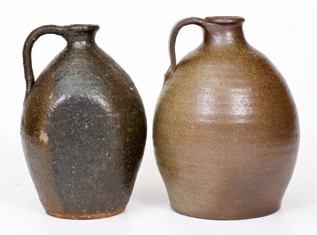 Lot of Two: Catawba Valley, NC Stoneware Jugs, probably