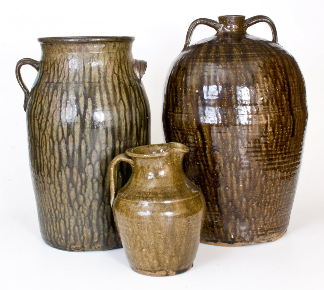 Lot of Three: Alkaline-Glazed Churn, Pitcher, and