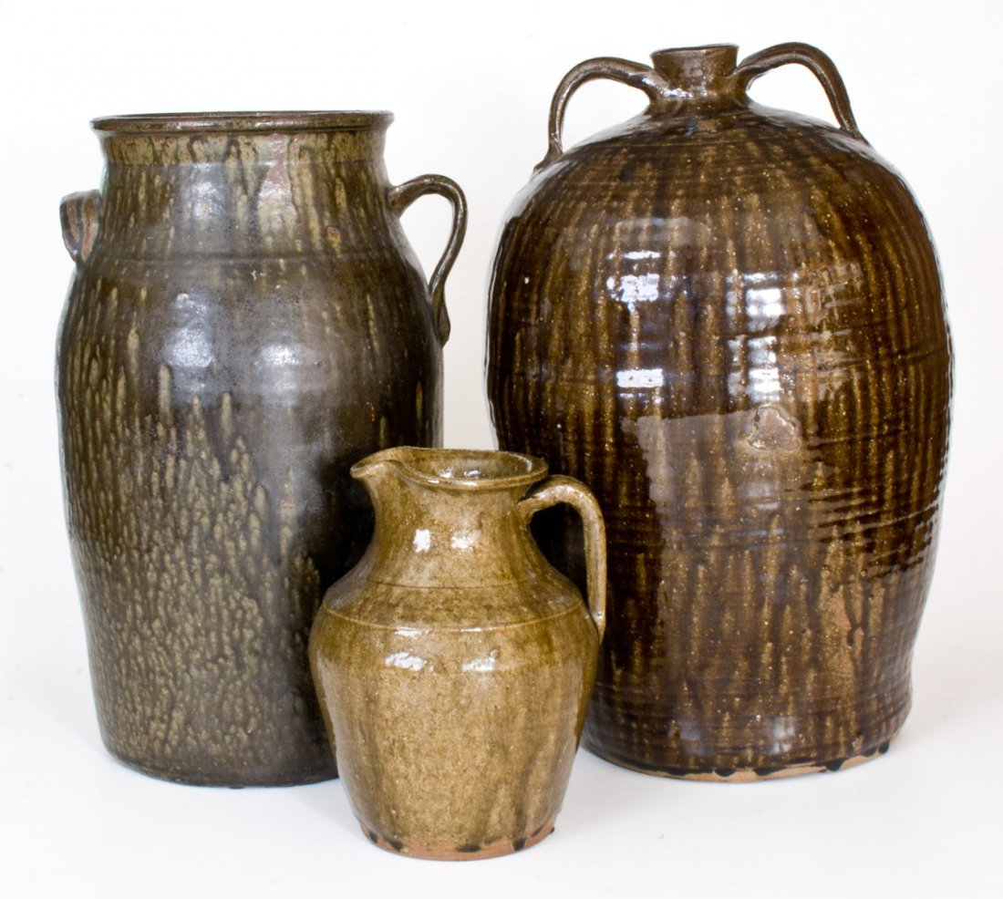 Lot of Three: Alkaline-Glazed Churn, Pitcher, and - 2