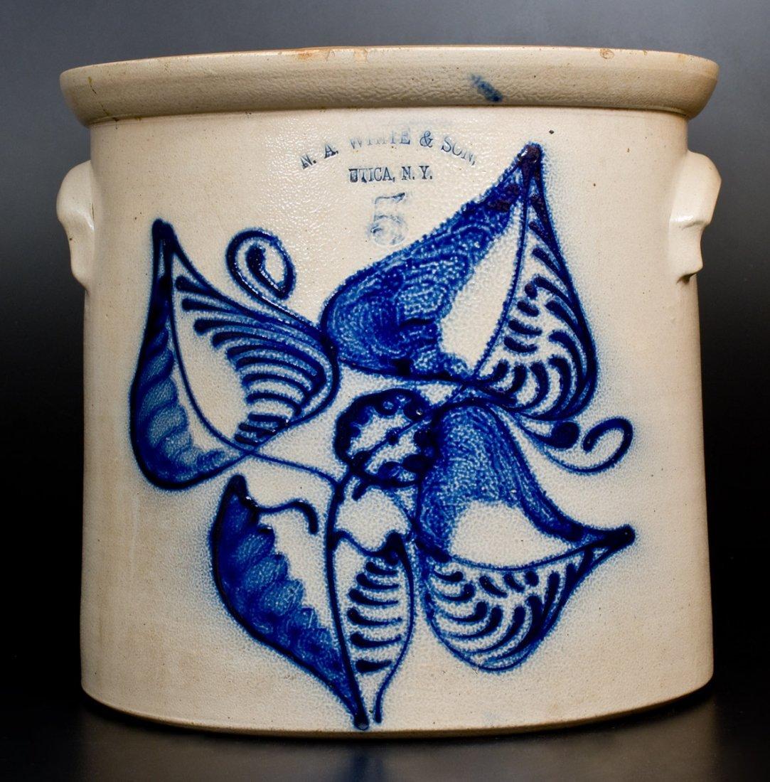 5 Gal. N. A. WHITE & SON / UTICA, N.Y. Stoneware Crock