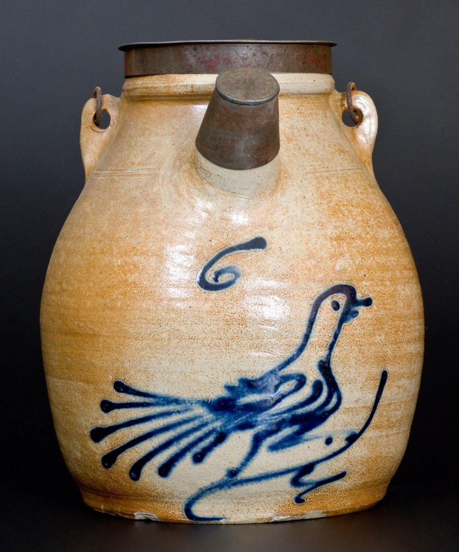 Stoneware Batter Pail w/ Cobalt Running Bird