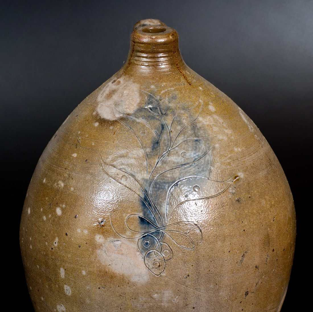 4 Gal. Stoneware Jug with Incised and Impressed - 4