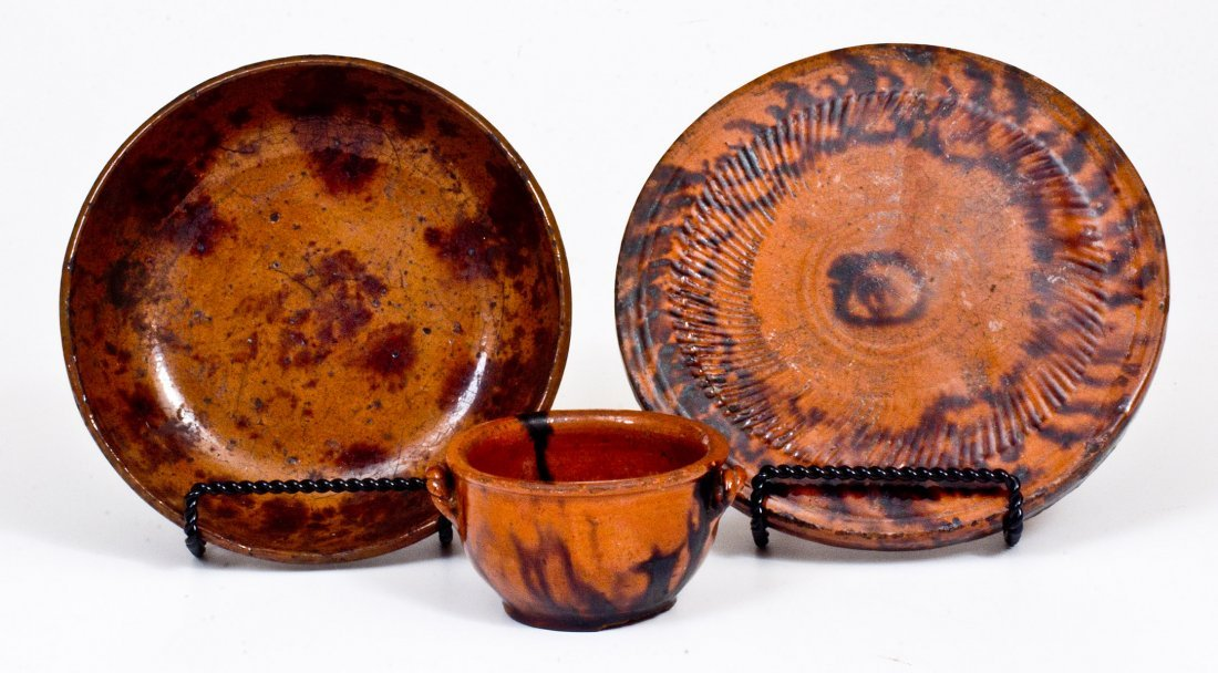 Three Pieces of Glazed Redware, Pennsylvania origin,