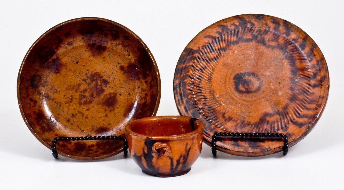 Three Pieces of Glazed Redware, Pennsylvania origin, - 2
