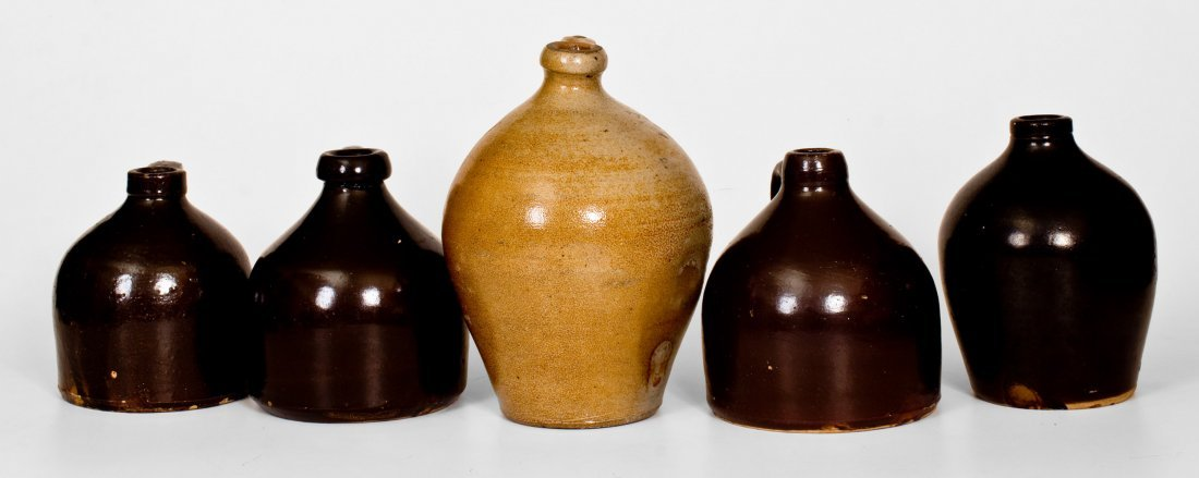 Lot of Five: Stoneware Jugs incl. Signed MEDFORD