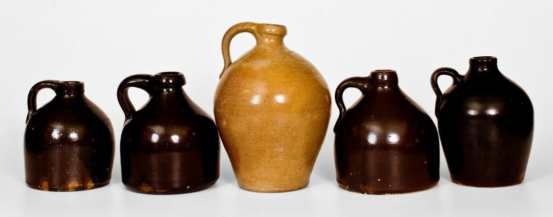Lot of Five: Stoneware Jugs incl. Signed MEDFORD - 2