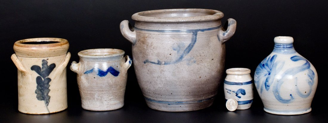 Lot of Five: Decorated Stoneware Vessels, 19th Century