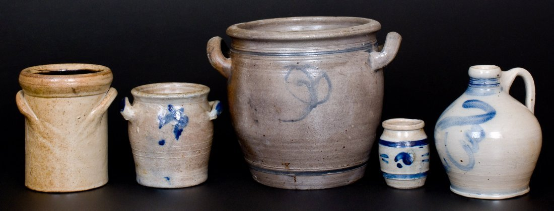 Lot of Five: Decorated Stoneware Vessels, 19th Century - 2