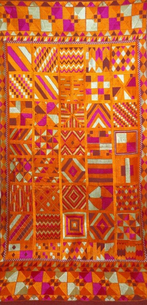 Rare Bawan Bagh Phulkari Shawl - Antique Indian Textile