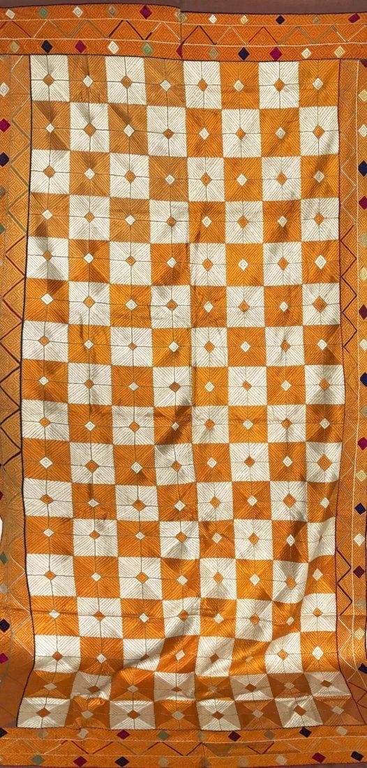 Antique Bagh Phulkari - Punjab Shawl w Silk & Cotton