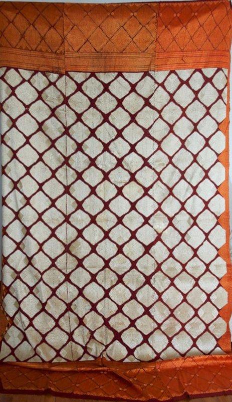 Vintage Wedding Chand Bagh Phulkari Shawl w White Silk