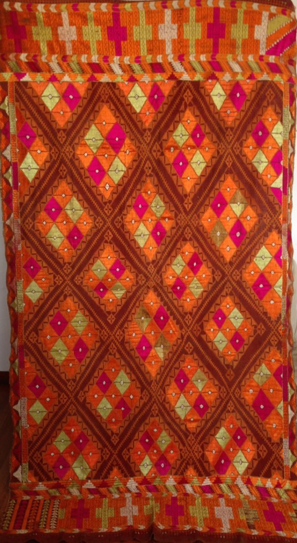 Vintage Surajmukhi Phulkari Textile with Chope stitches