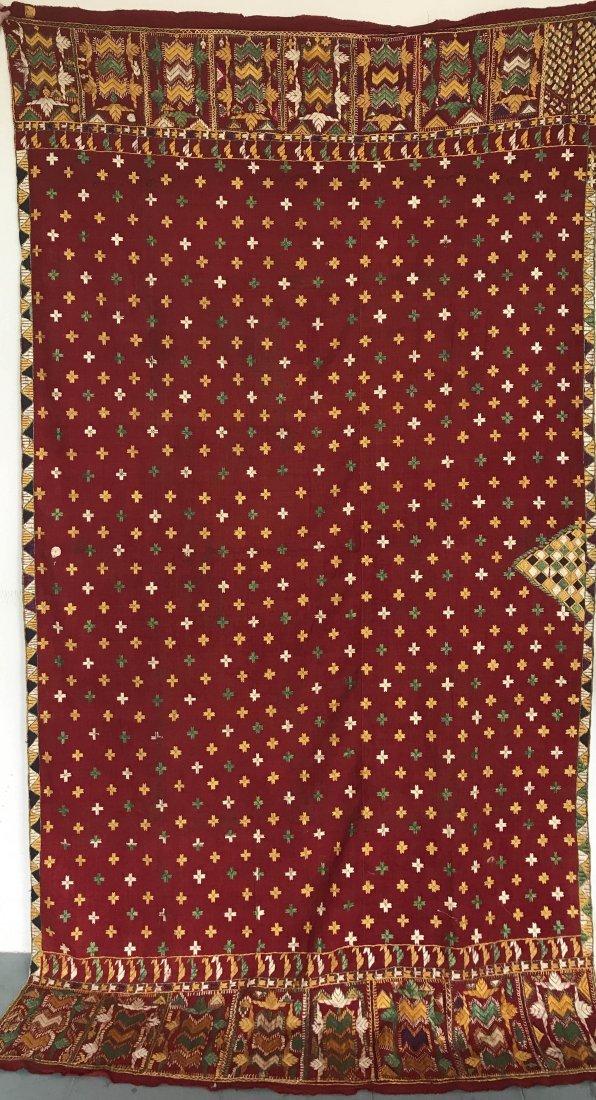 Antique Indian Punjab Phulkari Textile w Embroidery