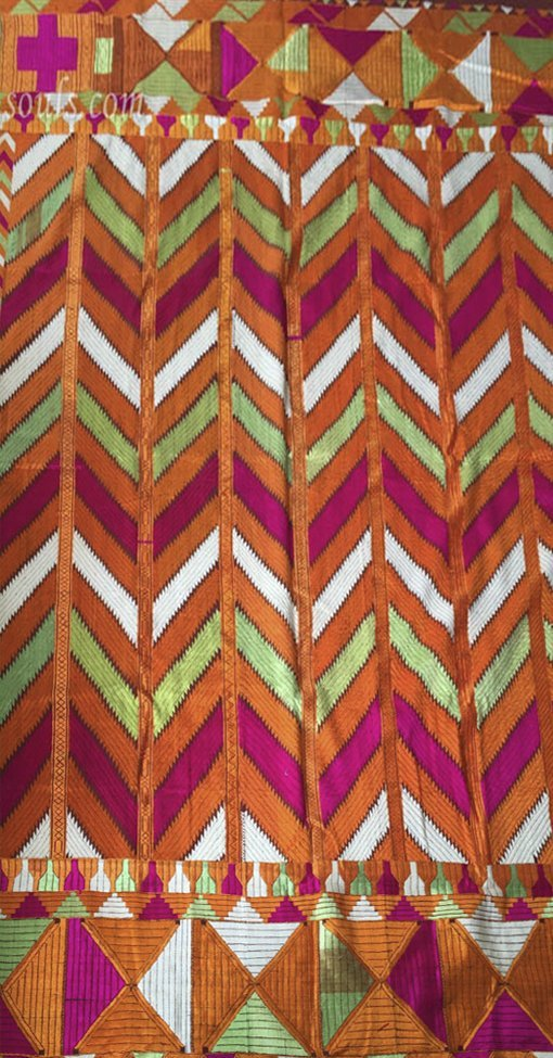 Vintage Bagh Phulkari Silk Embroidery Handwoven Cotton