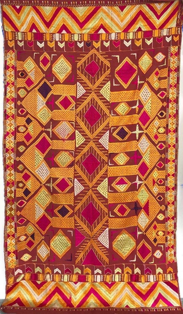 Vintage Darshan Dwar Phulkari Sikh Devotional Textile
