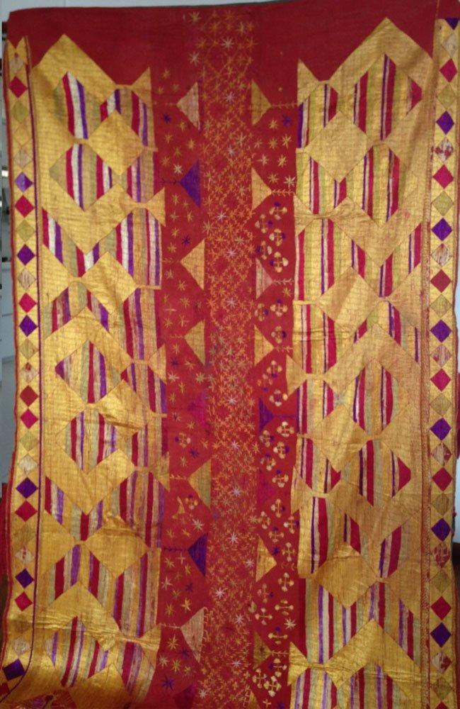 Antique Phulkari Bagh Silk Cotton Shawl Bride