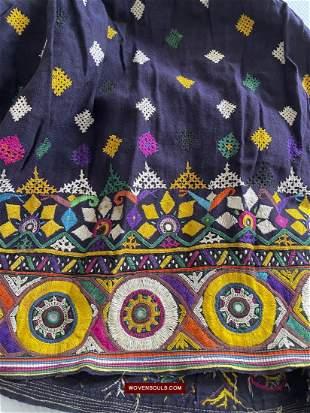 Vintage Blue Gujarati Embroidered Skirt