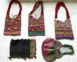 Mixed Lot of 5 Indian Textile Bags