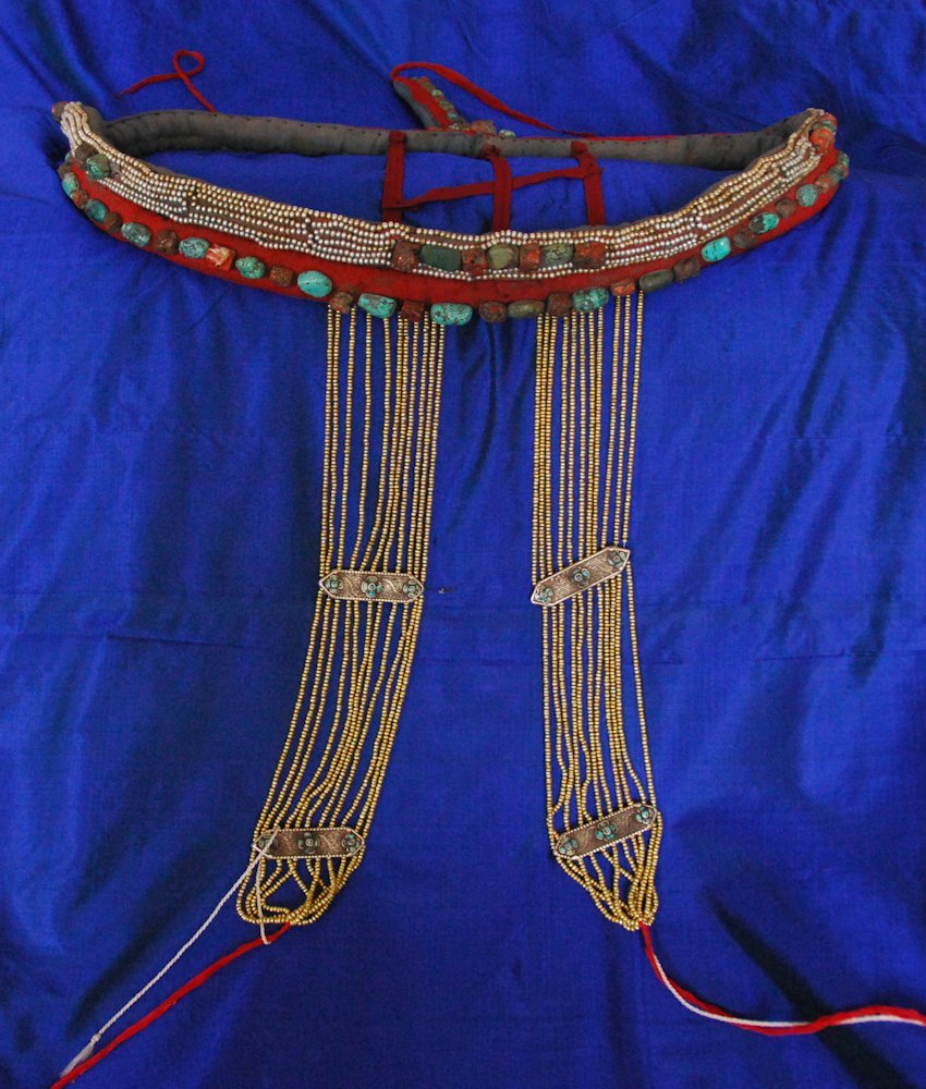 EXTREMELY RARE TIBET NOBLEWOMAN'S HEADDRESS late 19th c