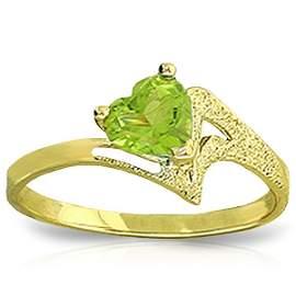 0.60ct Heart Peridot Ring in 14k Yellow Gold