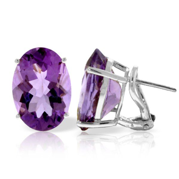 15.10ct Amethyst French Clip Earrings in 14k White Gold