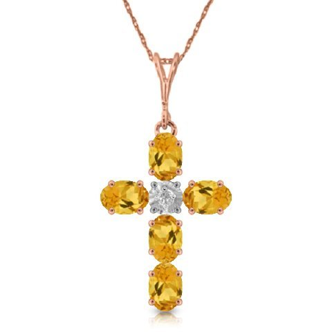 14k Rose Gold Citrine Cross Necklace
